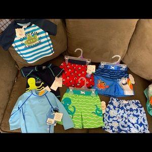 Baby boy swim shirts and shorts